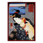 Ukiyo-e Woodblock Art - Geisha & Cat Card