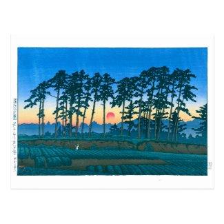 ukiyoe - hasui - No.14 Ikegami Ichinokura (sunset) Postcard