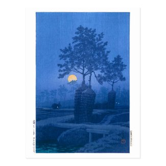 ukiyoe - hasui - No.20 Moonlit Night at Gamo - Postcard
