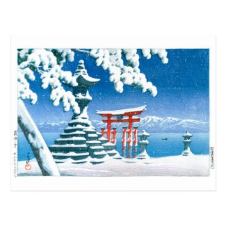 ukiyoe - hasui - No.4 Snow at Itsukushima - Postcard