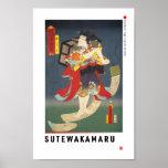 ukiyoe - Sutewakamaru - Japanese magician - Poster
