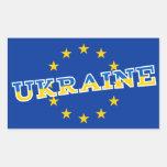 Ukraine and European Union flag design Rectangular Stickers