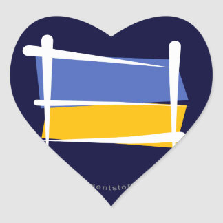Ukraine Brush Flag Heart Sticker