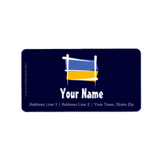 Ukraine Brush Flag Label