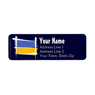 Ukraine Brush Flag Return Address Label
