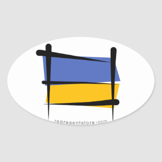 Ukraine Brush Flag Oval Sticker