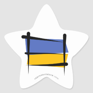 Ukraine Brush Flag Star Sticker