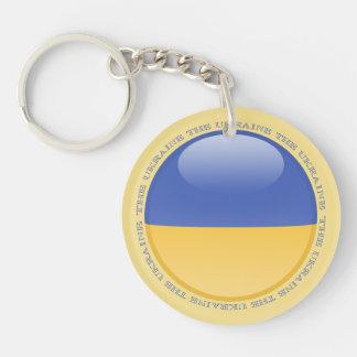 Ukraine Bubble Flag Double-Sided Round Acrylic Keychain
