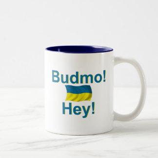 Ukraine Budmo! Hey! Two-Tone Coffee Mug