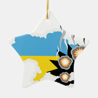 Ukraine conflict vector ceramic ornament