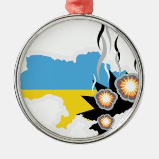 Ukraine conflict vector metal ornament