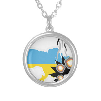 Ukraine conflict vector round pendant necklace
