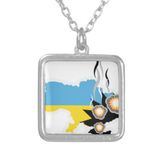 Ukraine conflict vector square pendant necklace