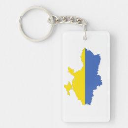 ukraine country flag map shape symbol keychain