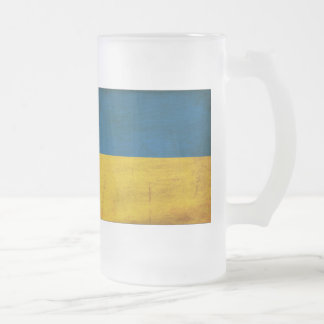 Ukraine Flag Frosted Glass Beer Mug