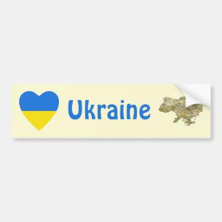 Ukraine Flag Heart + Map Bumper Sticker