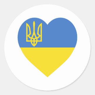 Ukraine Flag Heart Round Sticker