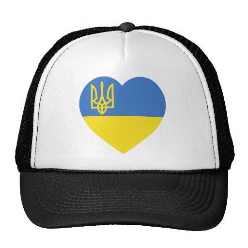 Ukraine Flag Heart Trucker Hat