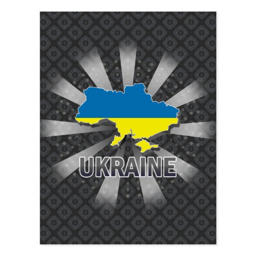 Ukraine Flag Map 2.0 Postcards