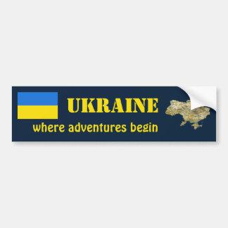 Ukraine Flag + Map Bumper Sticker Car Bumper Sticker