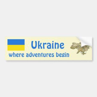 Ukraine Flag + Map Bumper Sticker