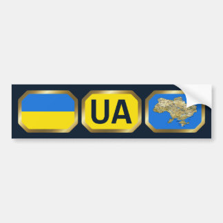 Ukraine Flag Map Code Bumper Sticker Car Bumper Sticker