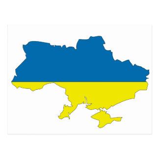 Ukraine flag map postcard