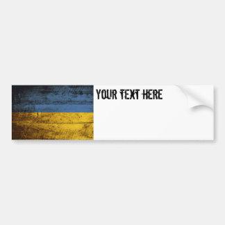 Ukraine Flag on Old Wood Grain Bumper Sticker