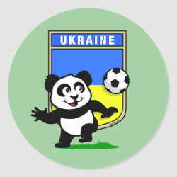 Round Sticker with Ukraine Football Panda design
