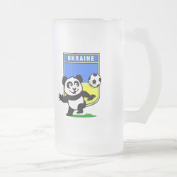 Frosted Glass Mug with Ukraine Football Panda design