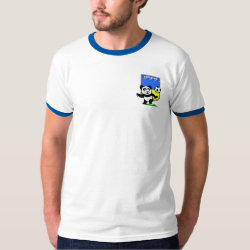 Men's Basic Ringer T-Shirt with Ukraine Football Panda design