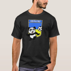 Men's Basic Dark T-Shirt with Ukraine Football Panda design