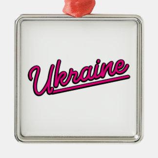 Ukraine in magenta christmas tree ornament