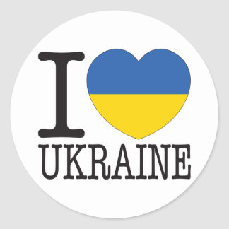 Ukraine Love v2 Classic Round Sticker