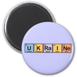Round Magnet with Ukraine design