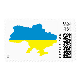 Ukraine map flag stamps