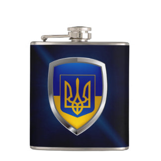 Ukraine Metallic Emblem Flask