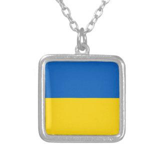 Ukraine National Flag Square Pendant Necklace