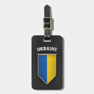 Ukraine Pennant with high quality leather look Luggage Tag