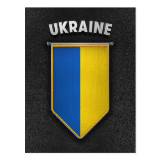 Ukraine Pennant with high quality leather look Postcard