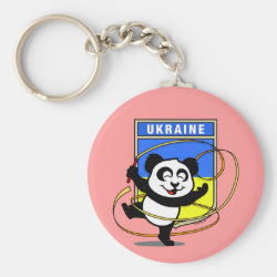 Basic Button Keychain with Ukraine Rhythmic Gymnastics Panda design