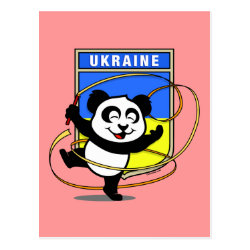 Postcard with Ukraine Rhythmic Gymnastics Panda design