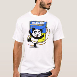 Men's Basic T-Shirt with Ukraine Rhythmic Gymnastics Panda design