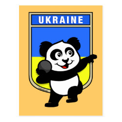 Postcard with Ukraine Shot Put Panda design
