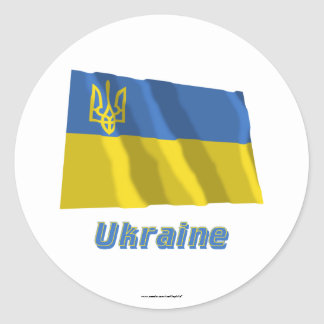 Ukraine Traditional Waving Flag with Name Round Stickers