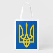Ukraine Trident In Yellow On Blue Grocery Bag at Zazzle