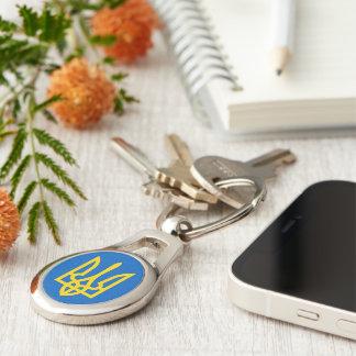 Ukraine Trident in Yellow On Blue Keychain