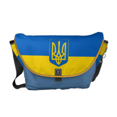 Ukraine Trident On Blue Yellow Flag Medium Courier Bag at Zazzle