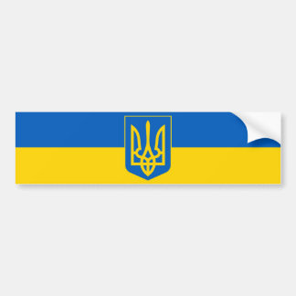 Ukraine Trident on Yellow and Blue Flag Car Bumper Sticker