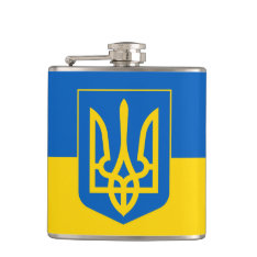 Ukraine Trident On Yellow And Blue Flag Hip Flask at Zazzle